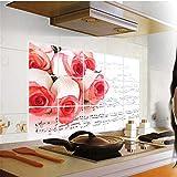 YIBOKANG Rosa Rosa Conoce Restaurante Cocina Maleta De La Pared De Auto-Bond De Obstel 45 * 75 Cm Temperatura Alta Temperatura Impermeable Azulejo Decoración De La Pared