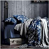 Eastern Floral Chinoiserie Blossom Print Duvet Quilt Cover Navy Blue Tan White Asian Style Botanical Tree Branches Ornamental Drawing 400TC Egyptian Cotton 3pc Bedding Set (King)