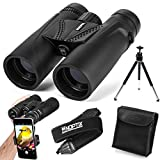 Binoculars 10x42 | Compact and Lightweight | Best Bird Watching Gift | Adults, Sports Events, Concerts, Safari, or Hunting – Includes Smart Phone Adapter, Tripod, Neck Strap, Case, and Cleaning Cloth
