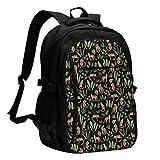 XCNGG Mochila USB con múltiples Bolsillos, Mochila Informal, Mochila Escolar Leopard Print Animal Travel Laptop Backpack with USB Charging Port Multifunction Work School Bag