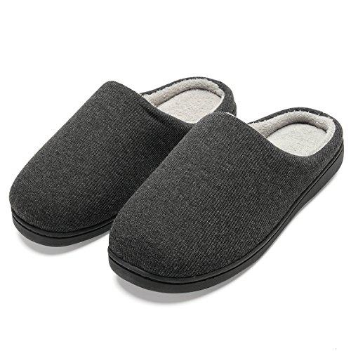 Zapatillas de casa de Hombre, Ultraligero cómodo y Antideslizante, Zapatilla de Estar por casa para Hombre, Negro, Interior: Gris, EU 46-47 (29-29.5CM)