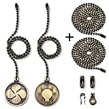Ceiling Fan Pull Chain with 35.4 inches Extension, Kinghouse 2 pcs 13.6 inches 3.2mm Beaded Ball Fan Pull Chain Set including Beaded and Pull Loop Connectors (Bronze Oil Rubbed)