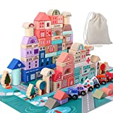Wooden Building Blocks Set , City Construction Stacker Stacking Preschool Learning Educational Toys...