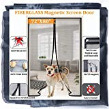 Upgraded Magnetic Screen Doors for French Door/Sliding Glass Door 72x80,Reinforced Fiberglass Retractable Doggy Door Screen with Full Frame Seal, Kids/Pets Entry Friendly,by Dysome