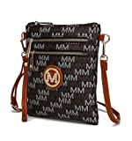 Mia K. Collection Crossbody Purse for women - Removable Adjustable Strap - Vegan leather wristlet Designer messenger bag Brown