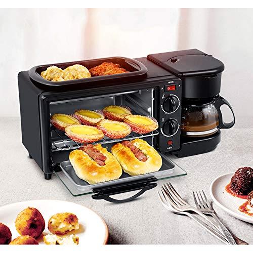 Elitte 3-In-1-Multifunktions Kleinküche Frühstückscenter mit Multiofen und 2 Kochplatten, 9-L-Backofen, 0,6-L-Kaffeemaschine, Black