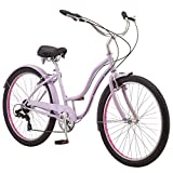 Schwinn Mikko Adult Beach Cruiser Bike, Featuring 17-Inch/Medium Steel Step-Over Frames, 7-Speed Drivetrains, Purple