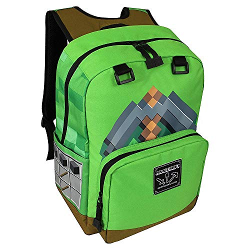 JINX Minecraft Pickaxe Adventure Kids School Backpack, Green, 17'