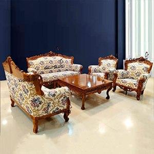 Aarsun Teak Wood Sofa Set (3+2+1+1) 7 Seater Dark Brown and Multi-Color Fabric