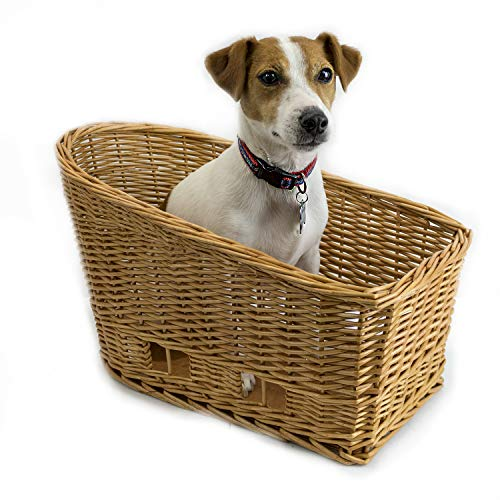 Cape May Large Rear Mount Willow Bicycle Basket for Dogs - Hand Crafted by Beach and Dog Co - Leashes and mounting Bracket Included