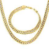 Men Two-Tone Gold Chain Platinum & 18K Gold Plated Cuban Curb Chain Necklace Bracelet Set (20'/8.3')