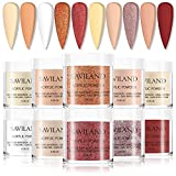 Saviland Acrylic Powder Color Set - 10 Colors Glitter Acrylic Powder Set with Red White Professional Polymer Colored Acrylic Nail Powder for Nail Extension No Nail Lamp Needed