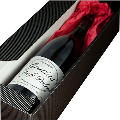 Calledelregalo Regalo para Profesores Personalizable: Botella de Vino 'Gracias Profe' Personalizada con su Nombre y la Fecha y dedicatoria Que tú Quieras