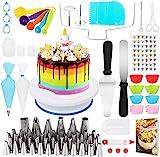 Popolic Tortenplatte drehbar, 120 Stück Tortenständer Kuchen Drehteller, Cake Decorating Turntable für Backen Gebäck, Zuckerguss, Mustern