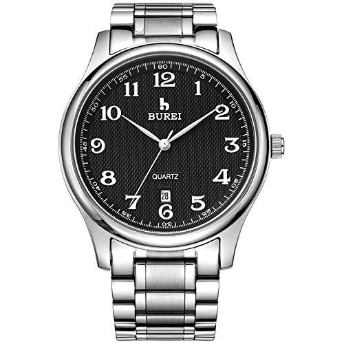 BUREI Herren Uhren Klassische Quarz Armbanduhr Schwarz Datumsanzeige mit Silber Edelstahlband Uhr für Männer
