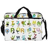 Mochila unisex para ordenador o tableta, ligera para portátil, bolsa de viaje de lona, 13.4-14.5 pulgadas con hebillas, diseño de animales del alfabeto AZ