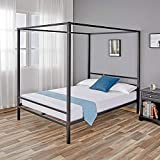 Full Size Canopy Bed Frame Canopy Bed Full Size Metal Bed Frames Four Poster, with Metal Platform and Slats, Holds up to 1100 lbs & Strong Steel Mattress Support, No Box Spring Needed, Full Size