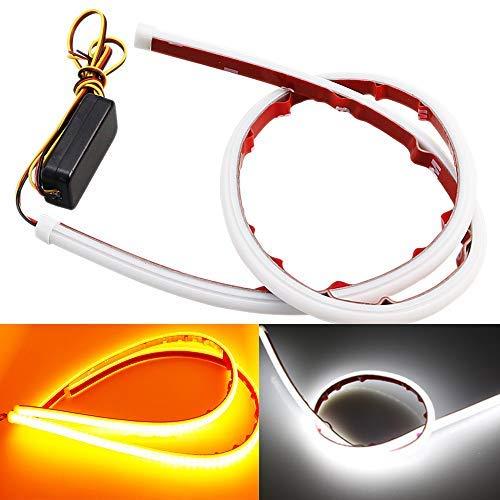 AMAZENAR 2-Pack Ultra-Luminoso 30CM 11,8'Bianco/Ambra Tubo Flessibile a LED Stile Striscia Barra Silicone DRL Luci Diurne Tear Strip Faro Auto Indicatore di Direzione Luce di Parcheggio