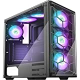 MUSETEX USB 3.0 Port, 6pcs RGB Fans Pre-Installed, ATX Mid-Tower PC Case Gaming Computer Case with...