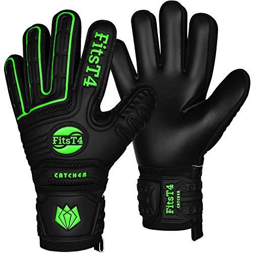 FitsT4 Fußball Torwarthandschuhe mit Fingersave-Schutz, Super-Grip, Torhüter Keeperhandschuhe für Kinder Jungen Erwachsene - Diverse Größen + Farben