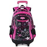 Fanspack mochila con ruedas Niñas mochila con carro Niñas bolsa para la escuela con ruedas Niñas Mochilas de Viaje ( Rosa )