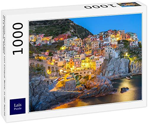 Lais Puzzle Manarola, Villaggio delle Cinque Terre, di Notte a La Spezia, Italia. 1000 Pezzi