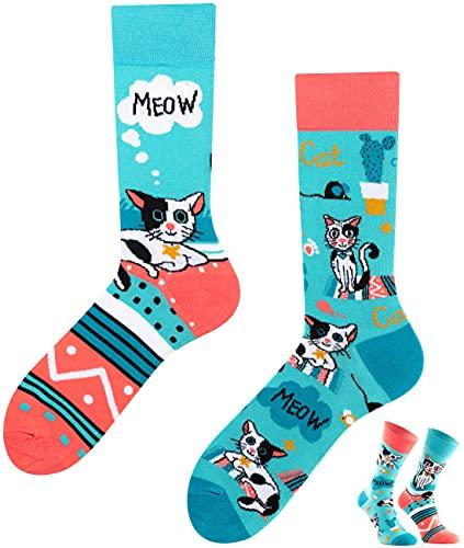 TODO Colours Calzini con Gatti Uomo Donna - Cats Life - divertenti, animali, colorati (43-46, Cats Life)