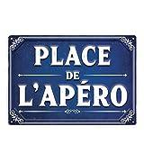 Place de l'Apéro - Plaque effet Tôle émaillée -