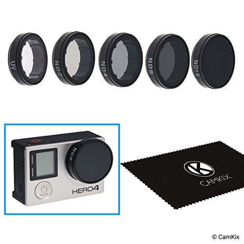 CamKix Pack Filtri Cinematografici Compatible con GoPro HERO 4 and 3+, Include 4 Filtri a Densità Neutra (ND2/ND4/ND8/ND16), un Filtro UV è un Panno di Pulizia