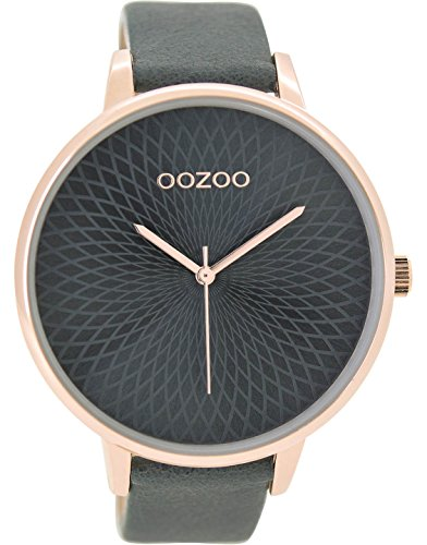 Oozoo Damenuhr mit Lederband 48 MM Rose/Dunkelgrau/Dunkelgrau C9524