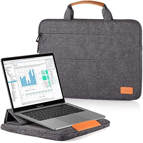 EasyAcc 13-13,3 Bolsa Portátil Función Soporte Funda Asa para Computadora Acer ASUS Dell XPS 13 Surface Pro MacBook Air Pro Gris Oscuro