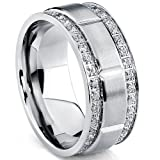 Metal Masters Co. Men's Titanium Wedding Band Ring with Double Row Cubic Zirconia, Comfort Fit Sizes, 9MM Size 8.5