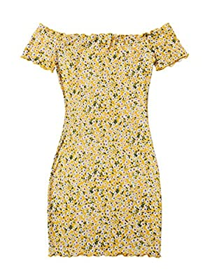 Casual floral print bodycon dress Soft and comfortable fabric, fabric has no stretch Feature: Ditsy floral, off the shoulder, lettuce trim, short sleeve, bodycon, slim fit, fashionable Size recommendation: Please refer to size chart which we provide ...