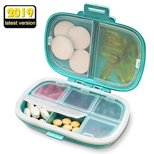 Tablettenbox 7 Tage, SYOSIN Pillendose 7 Tage Handlicher und Feuchtigkeitsbeständiger Tablettenbox, Einer Feuchtigkeitsbeständigen Bauart und Großen Fächern, um Vitamin und Ergänzungspräparate