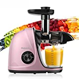 Juicer Machines, Picberm Slow Masticating Juicer Extractor with Quiet Motor Easy to Clean, BPA-Free Anti-clogging Cold Press Juicer with Peeler, Brush, Recipes for Fruits and Vegetables - Rose Gold