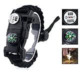 Bracelet de survie réglable, Paracord 550 Bracelet Kit 20 en 1 Kit de survie en plein air Kit de...