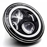 Krator 7' Black Motorcycle LED Headlight with Aperature Halo Ring Angel Eye DRL Light