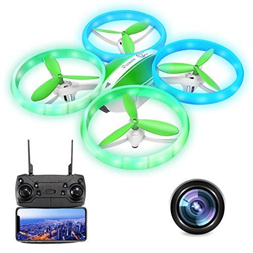 EACHINE E65HW Drone con Telecamera 1080P Mini Drone per Bambini Adatto per Principianti Funzione di Sospensione Altitudine Headless Mode 3D Flip Luce a LED (Verde)