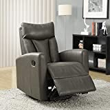 Monarch Specialties Recliner Chair - Single Leather Sofa Home Theatre...