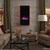 Clevr 32' Vertical Wall Mounted Fireplace Heater, with Adjustable LED Back Light Colors, Modern Black Electric Heat with Decorative Crystals, CSA and UL Certified, 1500W
