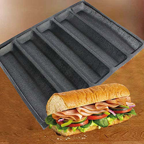 Silicone Perforated Baking Forms Sandwich Mold French Baguette Bread Pan Food Mat 5 Loaf Non-Stick Baking Liners