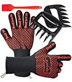 EUHOME 3 in 1 BBQ Gloves Grill Accessories with EN407 Certified Oven Mitts 1472 F° Extremely Heat...