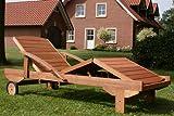 Hecht Gartenliege rollbare Sonnenliege mit Verstellbarer Rückenlehne und ausziehbarer Ablage - 4
