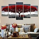 RDCHY Impression sur Toile - Tableau Multi Panneaux - Paysage d'arbre Rouge...