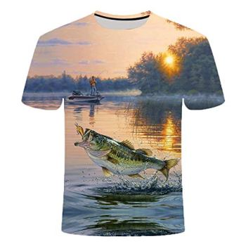 Chenlao7gou621 Deep-Sea Fish T-Shirt Male Digital Printing Short-Sleeved Round Neck Casual Men's and Women's Tops