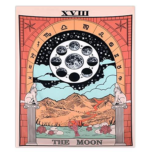 Rcbmn Tarot Moon Tapiz de Luna Utilizado para la decoraci¨®n del Dormitorio del hogar150cmx130cm
