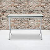 Flash Furniture Winfield Collection Glass Computer Desk with White Metal Frame