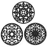 ME.FAN Silicone Trivet - Trivet Mat - Kitchen Hot Pads for Pots / Hot Dish Insulated Flexible Durable Non Slip Coasters 3 Set (Black)