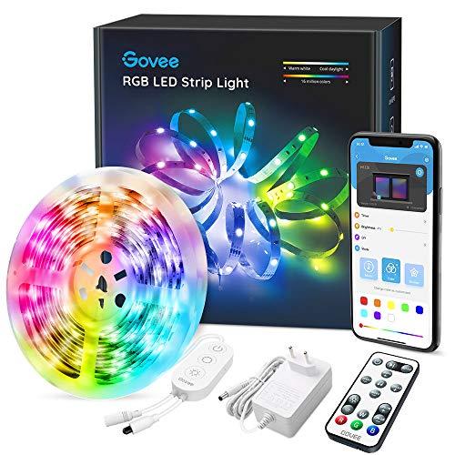 LED Strip Bluetooth, Govee 5m LED Streifen mit APP-Steuerung, Fernbedienung und Kontrollkasten, Musik Synchronisation LED Lichtband Leiste, 7 Szenenmodi für Zuhause, Küche, Party, Gaming Zimmer Deko