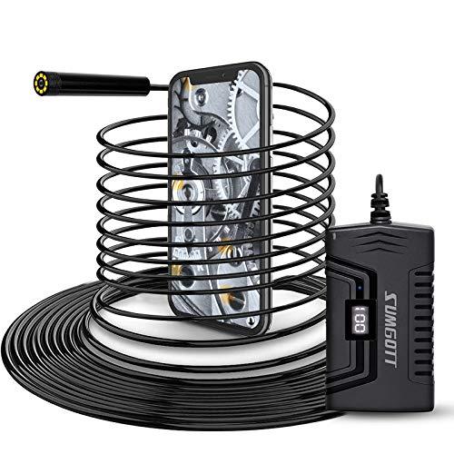 sumgott Endoscopio WiFi 10M, 1080P HD Wireless Telecamera Endoscopica, 2.0 Megapixel IP68 Impermeabile Semi Rigido Cavo con 8 luci LED per Android e iPhone Smartphone/Table